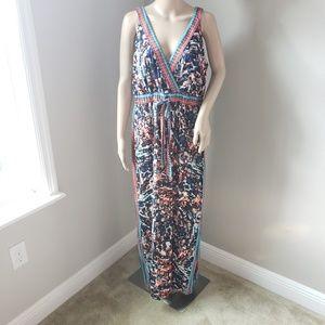 NWT Tropical Boho Tie Front Maxi Dress